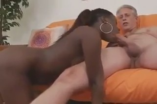 Chocolate sucking a mature man фото